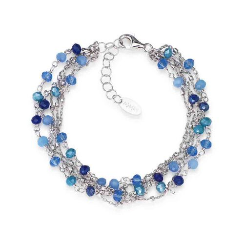 Bracelet Iridescent crystals blu in Rhodium