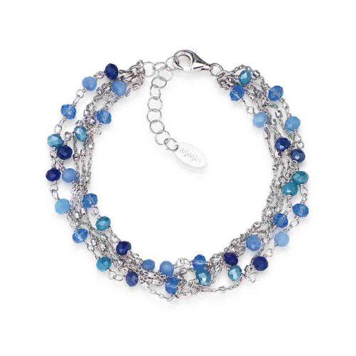 Bracelet Iridescent crystals blue in Rhodium