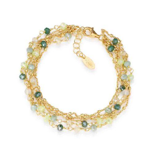 Bracelet Iridescent crystals verdi in AG925 oro