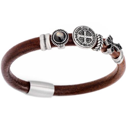Bracelet Leather, Bronze Steel