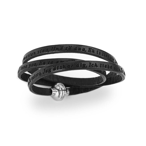 "Bracelet leather with engraved ""I Love You"" all world's language"