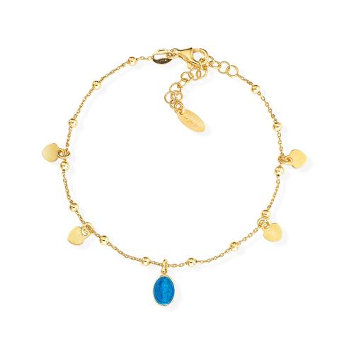 Bracelet Madonna Enamelled Blue and Hearts
