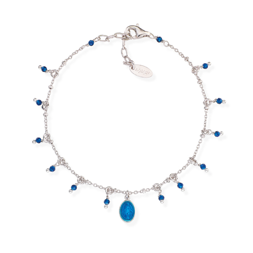 Bracelet Madonna Enamelled Blue and Nuggets