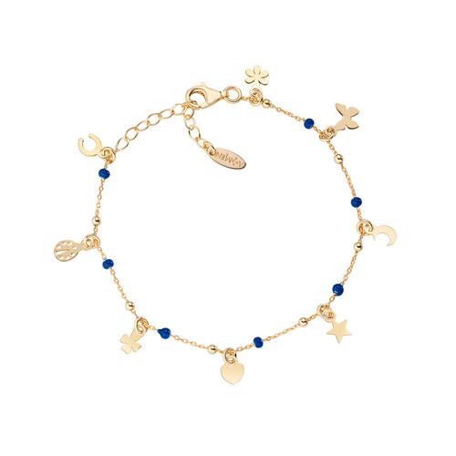 Bracelet Multi-Charm Golden and Enameled Blue