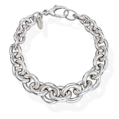 Bracelet Rolo Chain Round Rhodium