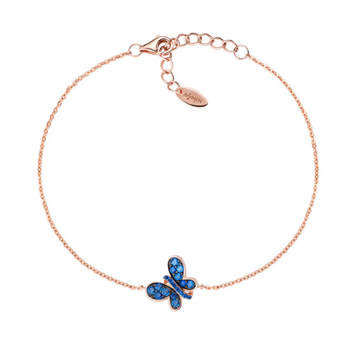 Bracelet Rosè Butterfly Blue Zircons