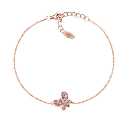 Bracelet Rosè Butterfly Brown Zircons