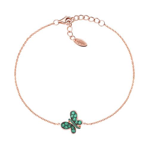 Bracelet Rosè Butterfly Green Zircons
