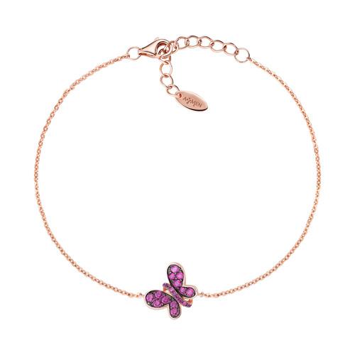 Bracelet Rosè Butterfly Ruby Zircons