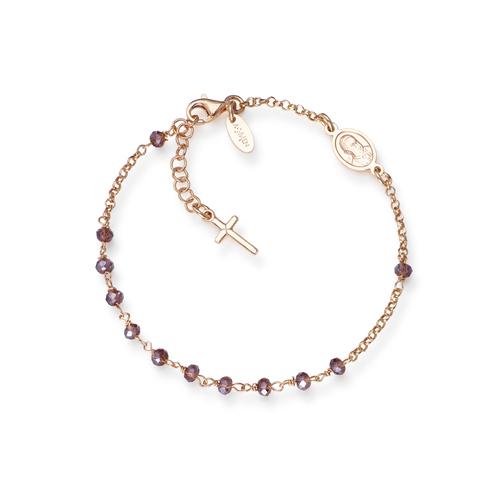 Bracelet Rosary Crystal Cross Charm