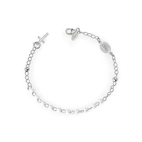 Bracelet Rosary Pearls Cross Charm