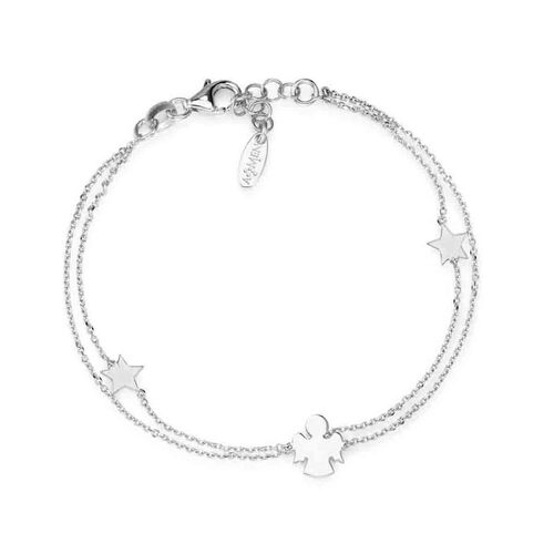 Bracelet Star and Angel in Rhodium