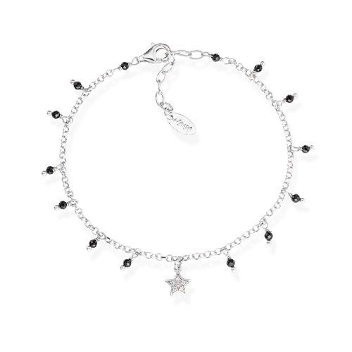 Bracelet Star Zirconia and Nuggets Black