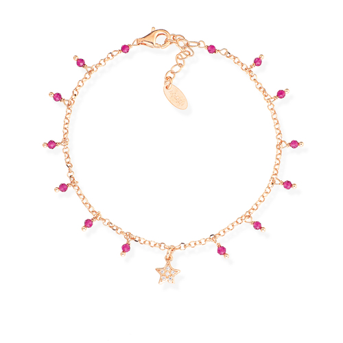 Bracelet Star Zirconia and Nuggets Pink