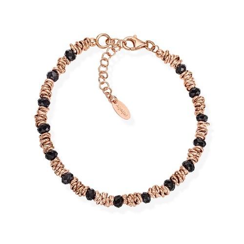 Braided Bracelet Black Crystals