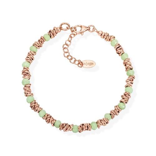 Braided Bracelet Green Crystals