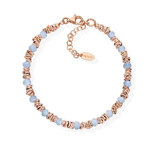 Braided Bracelet Light Blue Crystals