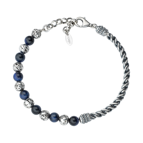 Braided Lava Stone and Blue Tiger Eye Bracelet