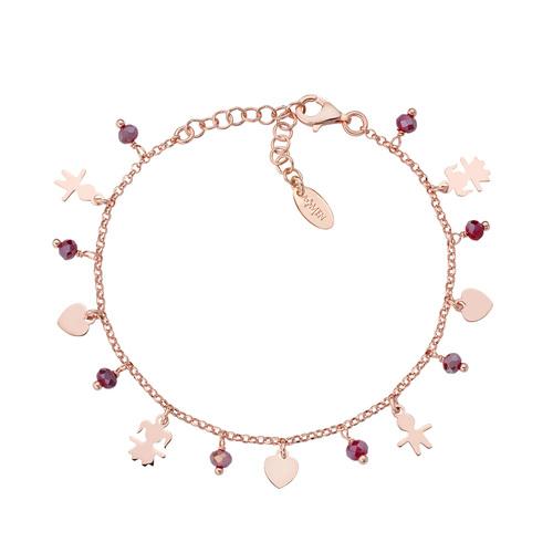 Charm Bracelet Children and Rosé Hearts