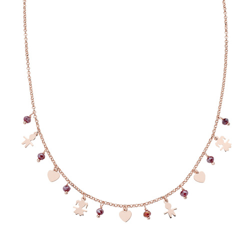 Charm Necklace Children and Rosé Hearts