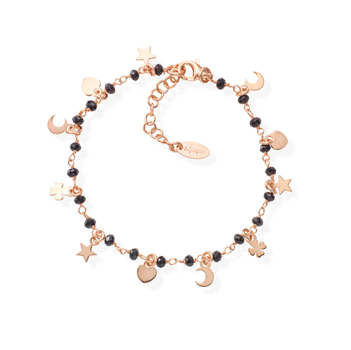 Charms and Black Crystals Bracelet