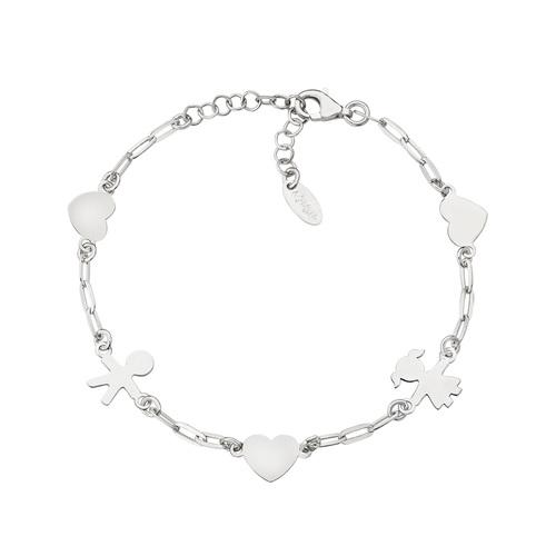 Children Chain Bracelet and Rhodium Hearts
