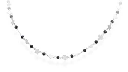 Clover Star and Heart Necklace Rhodium