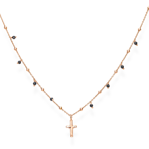 Cross and Black Crystals Necklace