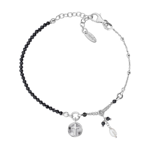 Cross and Pearl Medal Bracelet