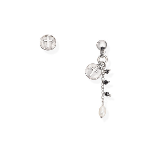 Cross and Pearl Medal Earrings