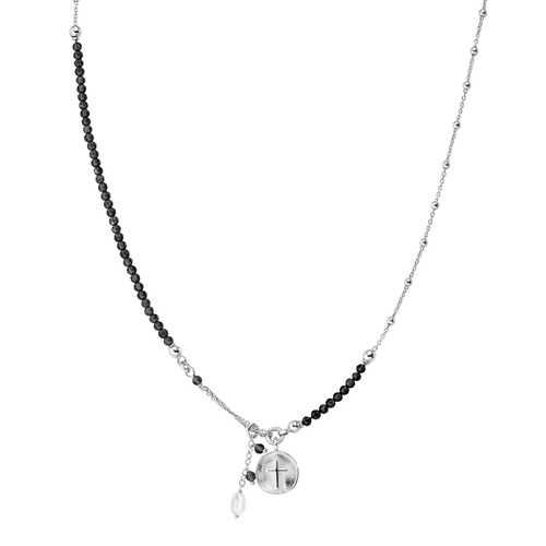 Cross and Pearl Medal Necklace
