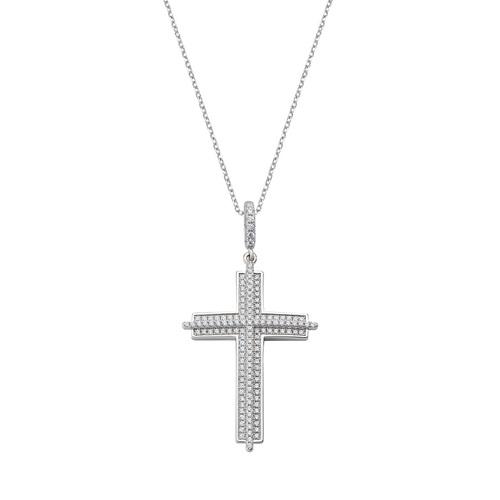Cross Necklace Relief White Zircons