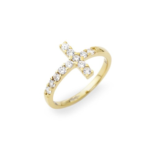 Cross ring AG925 golden with zircon stone-color