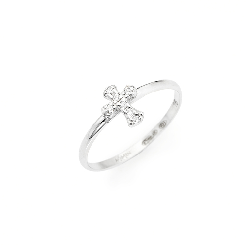 Cross ring AG925 rhodium and zircon