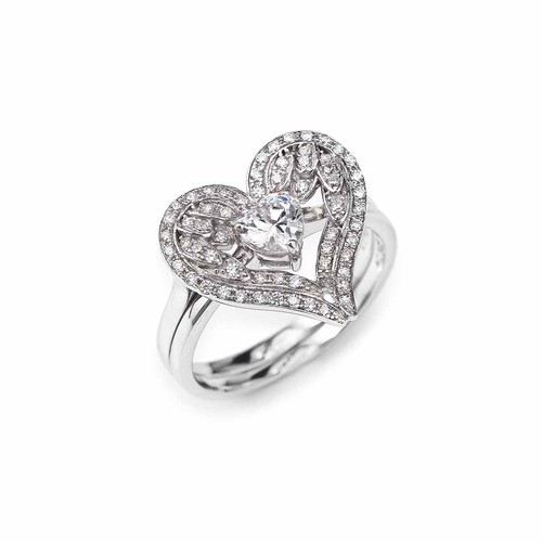 Double Heart Sterling Silver Rings Cubic Zirconia