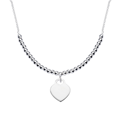 Double Rhodium Chain Heart Necklace