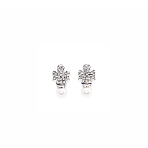 Earring angels white zircons and Pearls, AG925 rhodium