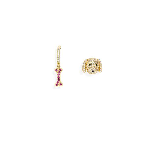 Earrings Bone and Dog Zirconate