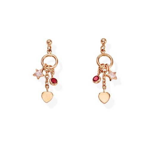 Earrings Charm Heart Rosè and Crystals