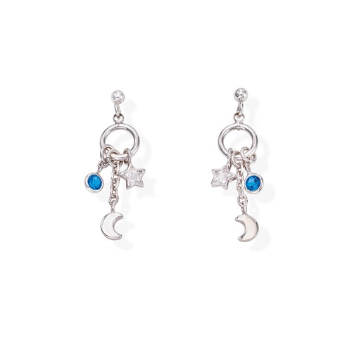 Earrings Charm Moon Rhodium and Crystals