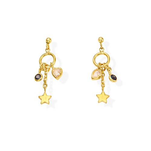Earrings Charm Star Golden and Crystals