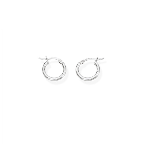 Earrings Circle 1 cm Rhodium