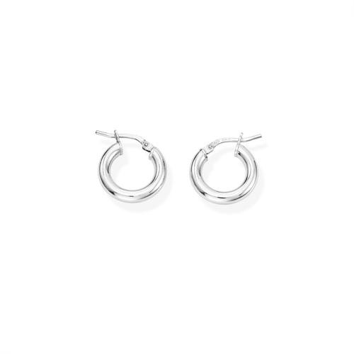 Earrings Circle 1 cm Rhodium