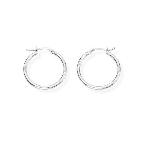 Earrings Circle 2 cm Rhodium