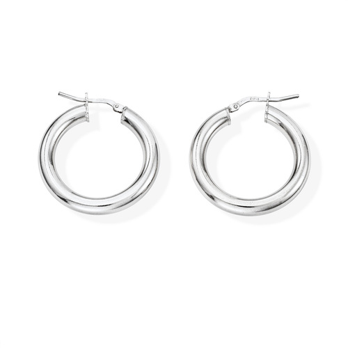 Earrings Circle 2 cm Rhodium