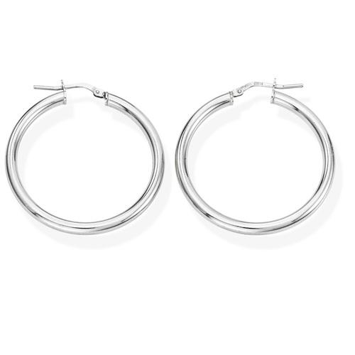 Earrings Circle 3 cm Rhodium