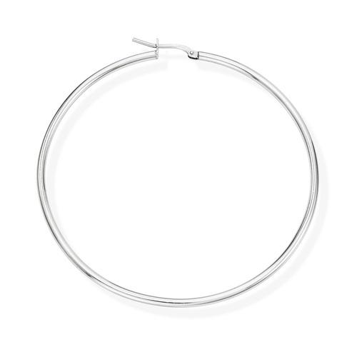 Earrings Circle 6 cm Rhodium