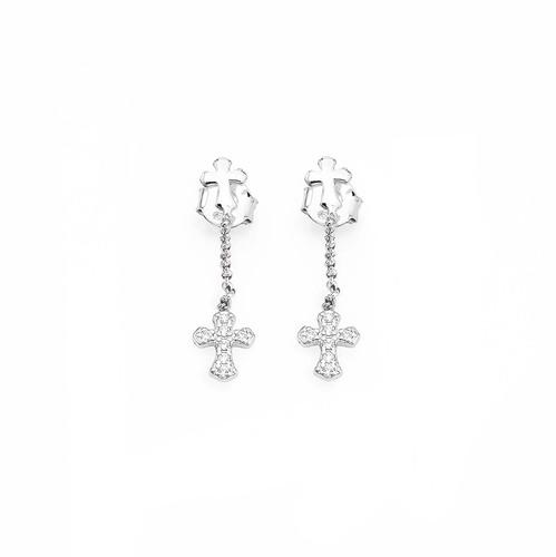 Earrings cross AG925 rhodium and zircon