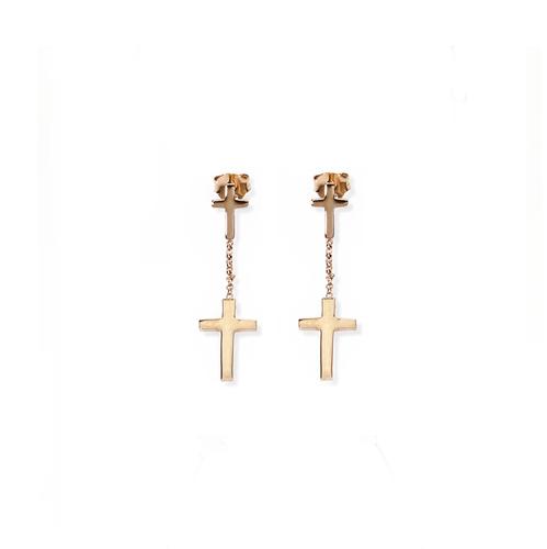 Earrings cross AG925 with zircon