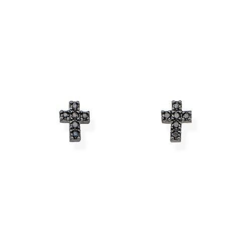 Earrings Cross Black Zircons